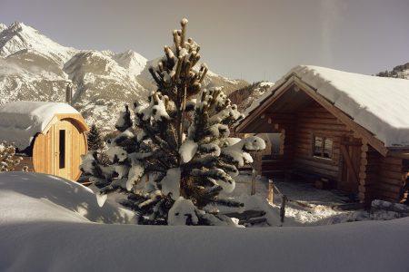 Blockhütte Winter